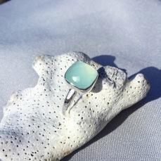 Chequerboard Chalcedony gemstone ring