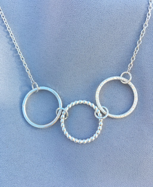 Trio of textures circle necklace